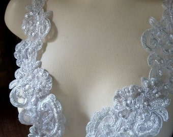 SILVER Beaded Applique Pair Lace for Lyrical Dance,  Bridal, Sashes, Headbands, Costume Design PR 36s