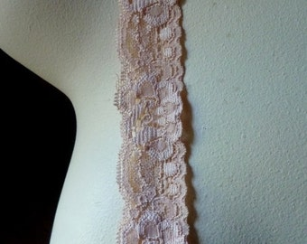 5 yds Peach Stretch Lace for Garters, Headbands, Lingerie  STR 1084pp