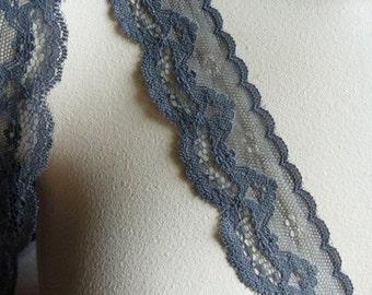 Gray Lace 2 yds. Scalloped for Garments, Lingerie, Costume Design  L 3043gr