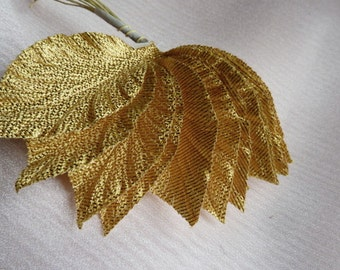 Gold Leaves 12 Vintage Japanese in Gold Lame for Bridal, Millinery, Bouquets, Crafts ML 113