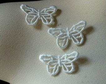 3 Butterfly Appliques Medium size in Ivory Cream  Venise Lace American made for Bridal, Headbands, Gift Wrap, Crafts AM 2