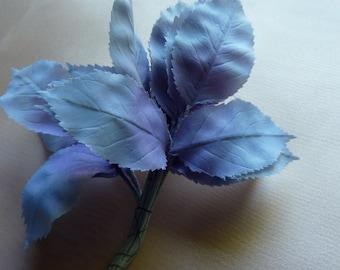 36 Blue Vintage Leaves Silk Millinery German in Blue & Lilac Ombre for Bridal, Floral Design, Hats, Fascinators ML 91
