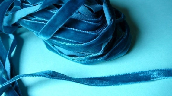 3 yds. Narrow Velvet Ribbon in Teal for Scrapbooking, Sewing, Embellishing, Floral Supply, Millinery, Altered Art Supply