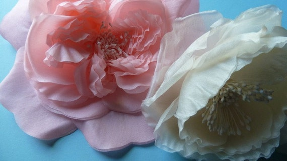 Silk Millinery Flower in Coral Pink for Bridal Sashes, Hats, Couture, Fascinators, Corsages, Bouquets