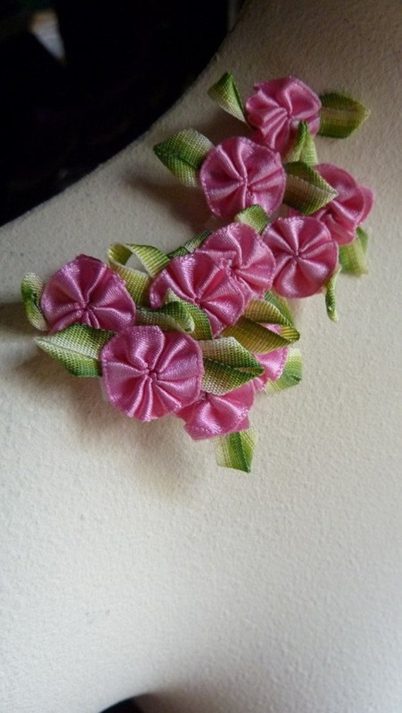 10 Hot Pink Satin Ribbon Rose Appliques for Garters,  Jewelry, Costume or Bridal Design