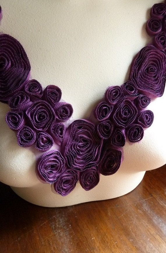 Swirly Flower Applique in Purple for Altered Couture, Bridal, Costume Design CA 204