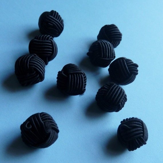 10 Buttons Chinese Cord  in Black for Jewelry or Costume Desig