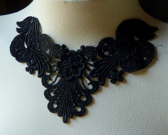 Black Lace Applique for Garment, Lace Jewelry, Costume Design  SBLA 406
