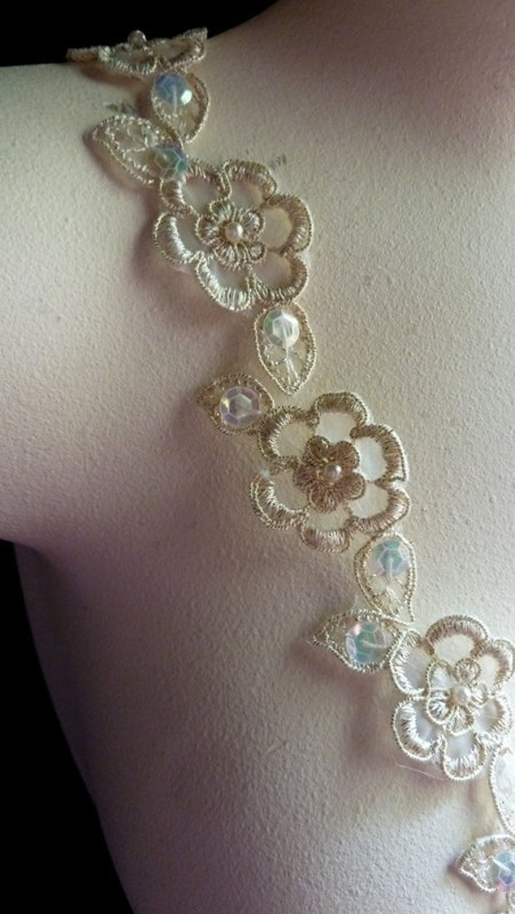 Gold Lace Trim Beaded with Faux Pearls for Bridal, Altered Couture or Art, Costume Design BRI  38