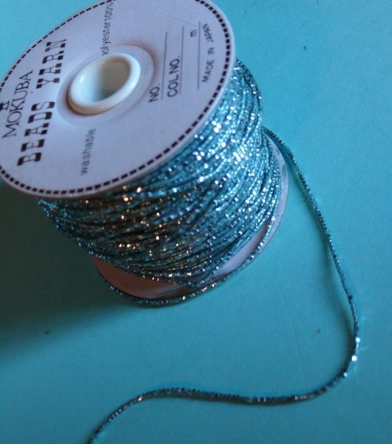 3 yds. Mokuba Retro Aqua Teal Beaded Cording for Altered Couture, Costume or Jewelry Design