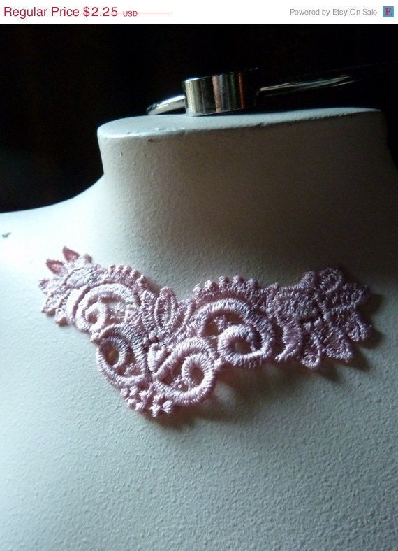 Last One - Venice Lace Applique in Blushing Peach for Jewelry or Costume Design CA  771