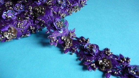 Beaded Trim Remnant 12 inches in Purple for Altered Art or Couture, Costume or Jewelry Design
