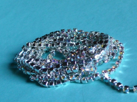 SS12 Rhinestone Chain 1/2 yd. Silver AB Yardage for Jewelry, Altered Art or Couture, Millinery, Costume Design