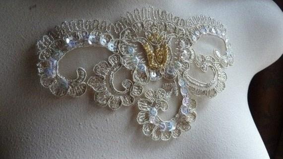 GOLD Beaded Lace Applique in Gold Metallic for Lyrical Dance, Bridal, Costume Design BRI 7