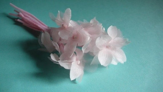 RESERVED Pretty in Pink Silk Organza Millinery Violets for Hats, Floral or Fascinator Supply