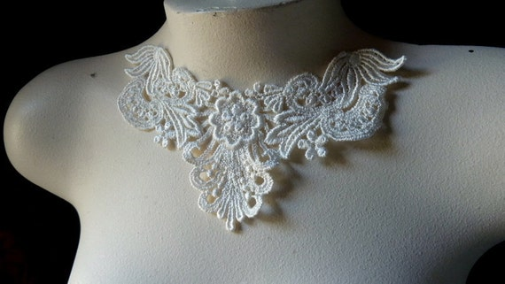 Ivory Lace Applique for Bridal, Jewelry, Costume Design SIA 510