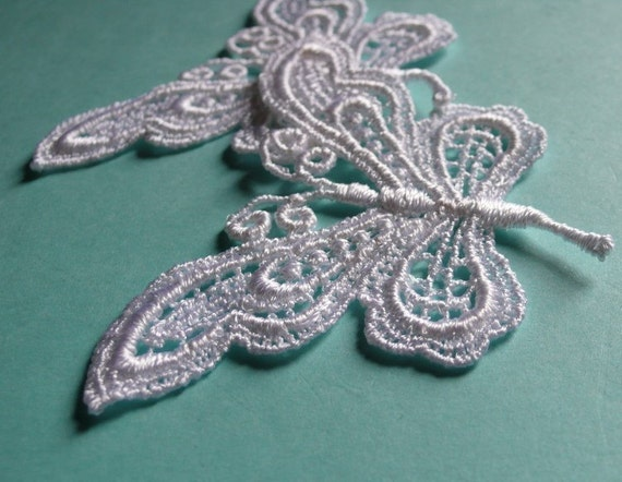 2 Butterfly Appliques in White Venice Lace for Scrapbooking, Embellishing, Jewelry or Costume Design