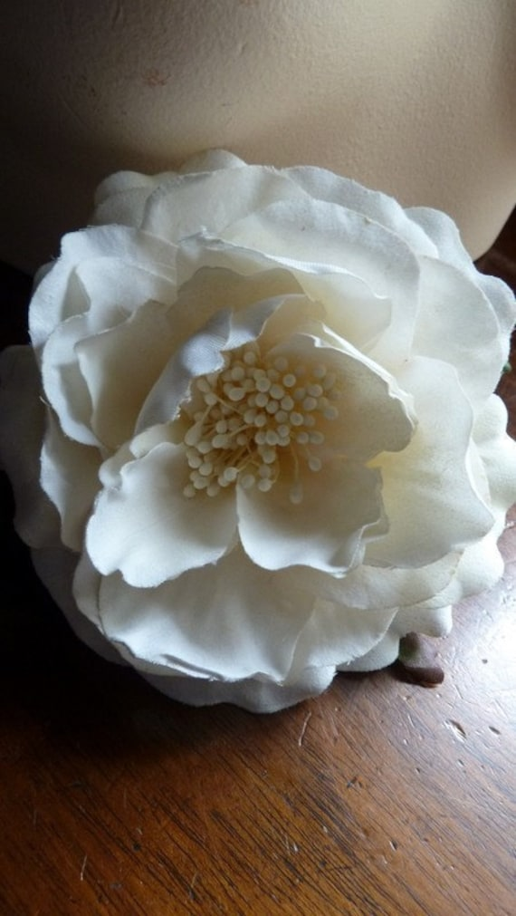 SALE Off White Velvety Cotton Camellia Millinery Flower for Bridal, Hats, Corsages, Floral Supply