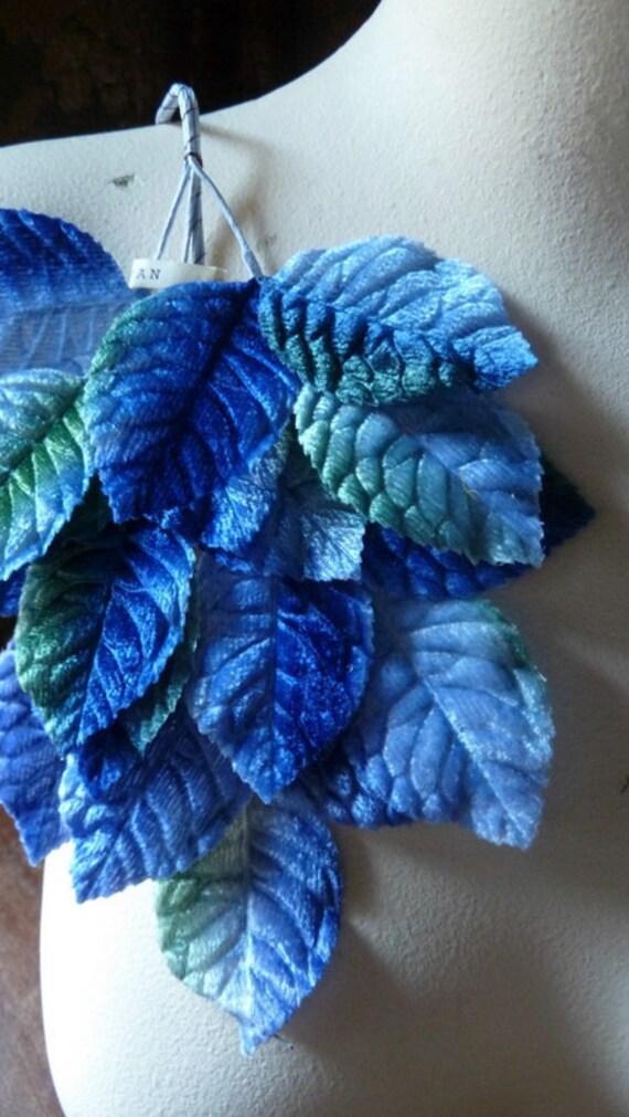 Vintage Japanese Velvet Millinery Leaves in Blue Ombre for Bridal, Hats, Brooches, Fascinators, Scrapbooking ML 66