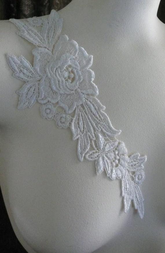 Venice Lace Flower Applique in WHITE  for Bridal, Altered Couture, Costume Design WA 625