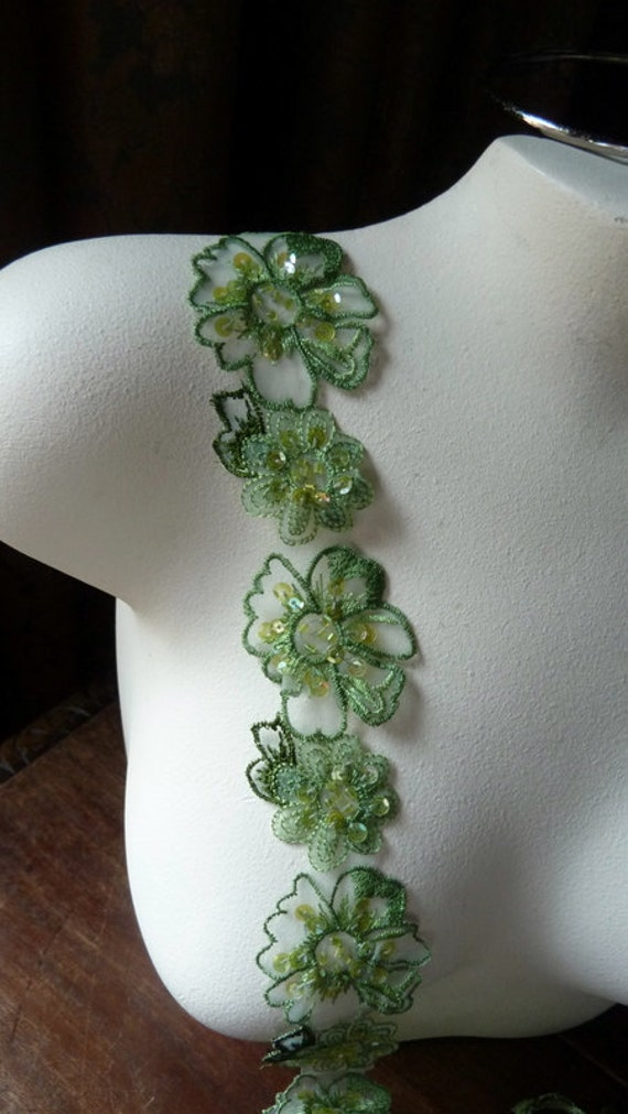 Beaded Lace in Green Organza for Headbands, Jewelry or Costume Design CL 6000