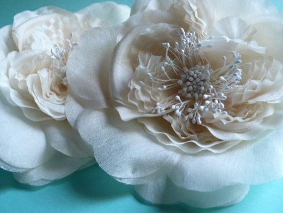 SALE Silk Rose Flower in Ivory for Bridal Sashes, Millinery, Fascinators, Headbands MF 134