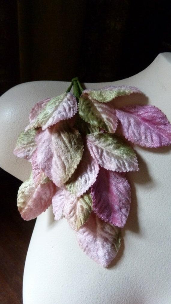 Pink Green Velvet Leaves for Bridal, Headbands, Millinery, Costume Design, Scrapbooking ML 18