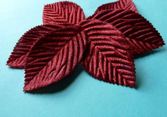12 Medium Velvet Millinery Leaves in Shaded Red for Headbands, Hats, Floral Supply, Altered Art or Couture, Costumes, Gift Wrapping