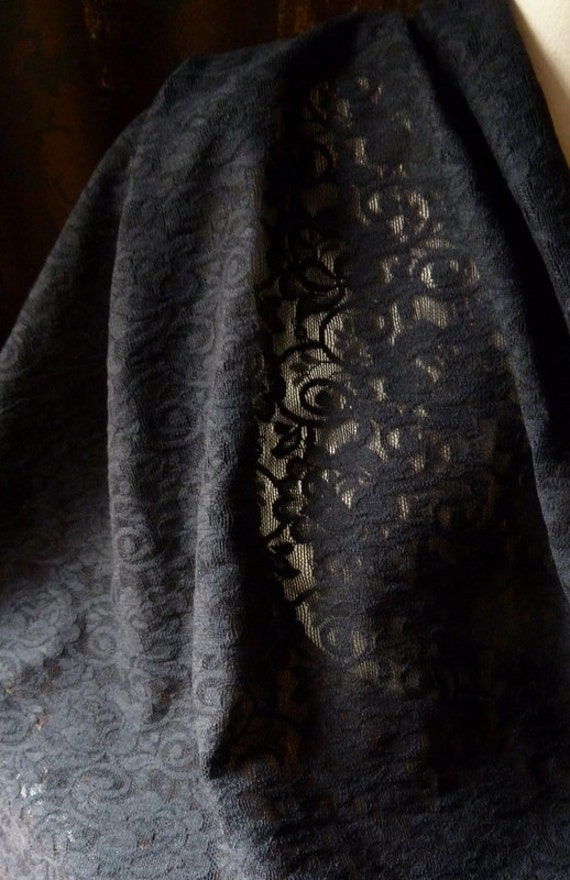 "28"" remnant Stretch Lace Fabric in Black Roses for Garments, Lingerie, Sleepwear, Costume Design"