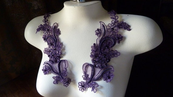 Beaded Applique Lace Pair in Aubergine Plum for Lyrical Dance, Ballroom Dance, Costumes, Bridal, Headbands, Sashes PR 114pa