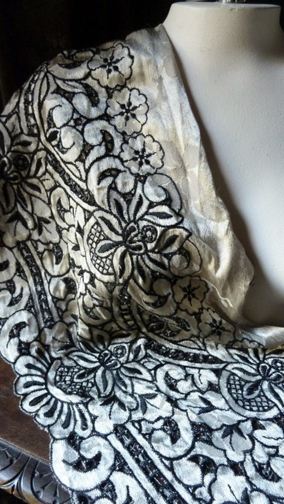 Last piece 1.25 yds. Embroidered Lace in Black and Beige Jacquard  for Tribal Fusion, Retro, Costume Design Cl 5092