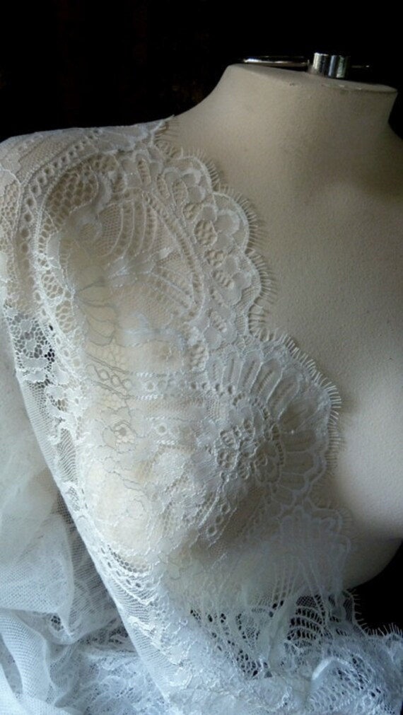 Chantilly Lace REMNANT from Spain in Ivory Creme for Bridal Lace Caps, Gowns,  Lingerie, Shrugs, Shawls, Veils SP1cr