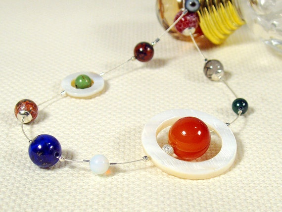 Solar System Necklace, Semi Precious beads and Sterling Silver