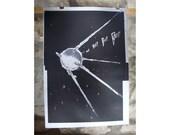 Sputnik Beep Beep Beep - Screen Printed Poster