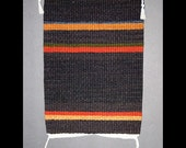 Handwoven Rug, Brown with Rust and Gold Stripes