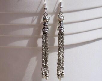 Long Dangle Tribal Earrings Silver Plated