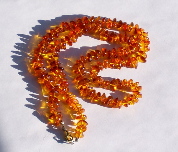 Amber Nugget Tangerine Orange Genuine Amber Necklace