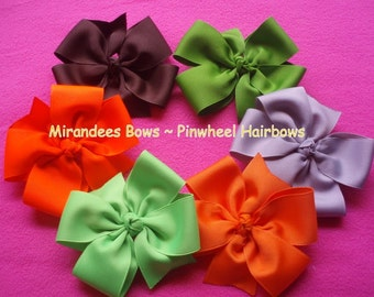 Lot of 10 PinWheel 4 inch Hairbows with Center Knot or Rhinestone Great PIGTAIL HAIR BOWS