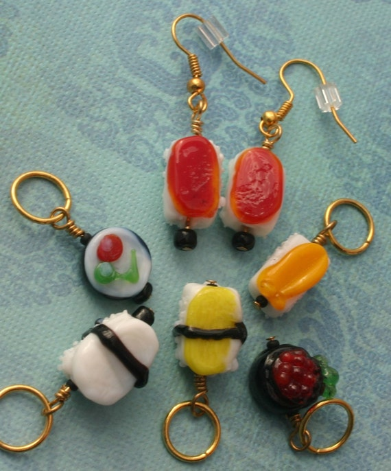 Nothing fishy here :)  Lampwork Glass Sushi stitch markers and matching earrings.
