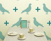 Chevron Bird Vinyl Wall Decal, Chevron Pattern Birds- 20 graphics, Wallpaper, Stickers, item 10039