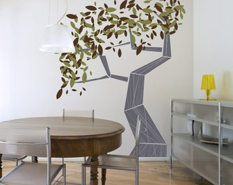 Modern Large Tree Vinyl Wall Decal- Leafy Tree Graphic, Sticker,  item 30031