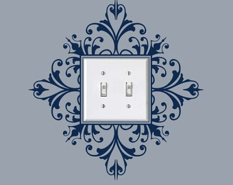 Vinyl Light Switch Plate Decal, Scroll Damask Light Switch Embellishment Sticker,  item 30024