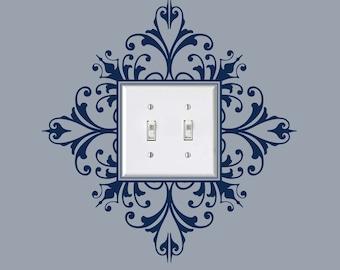Vinyl Light Switch Plate Decal, Scroll Damask Light Switch Embellishment Sticker,  item 30024