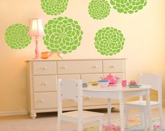 Vinyl Wall Decals- 7 Large Flower Bloom Graphics- Variety of sizes, Vinyl Wall Graphics, Large Flowers, Wallpaper, item 10024