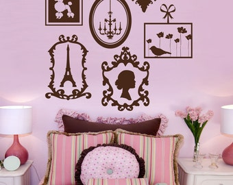 Paris Vinyl Wall Decals, Frame Collage, Vinyl Wall Graphics, Europe, Stickers, item 10023