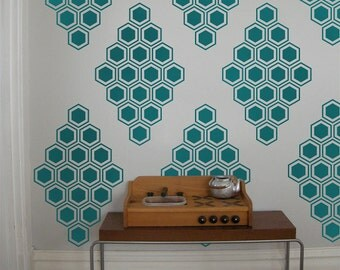 Hexagon Honeycomb Vinyl Wall Decals, Honeycomb Diamonds- 12 Graphics, Wallpaper, Stickers,  item 10038