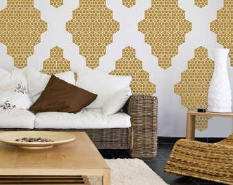 Vinyl Wall Decals, Honey Bee Diamonds- 10 Graphics, Wallpaper, Stickers,  item 10037