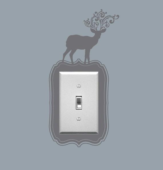 Deer Light Switch Wall Decals, Light Switch Embellishment, Vinyl Graphic, Sticker, Deer, Squirrel, Bird, Rabbit-  item 30025