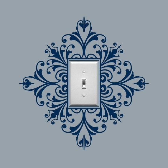 Light Switch Embellishment Vinyl Wall Decal, Scroll Damask - Single, Sticker, Wall Graphic, item 30024