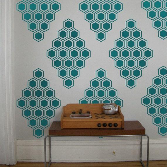 Hexagon Honeycomb Vinyl Wall Decals, Honeycomb Diamonds- 12 Graphics, Wallpaper, Stickers,  item 10038